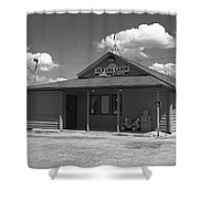 Route 66 - Old Log Cabin Shower Curtain