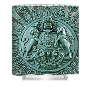 Royal Lion And Unicorn Coat Of Arms On The Gate Of The Wellington Arch At Hyde Park Corner London Shower Curtain