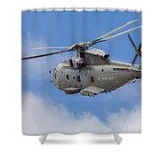 Royal Navy Eh-101 Merlin In Flight Shower Curtain