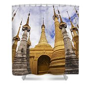 Ruined Pagodas At Shwe Inn Thein Paya Shower Curtain