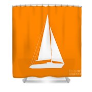 Sailboat In Orange And White Shower Curtain