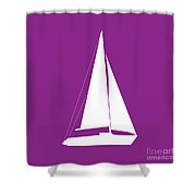 Sailboat In Purple And White Shower Curtain