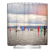Sailing On Marine Lake A Reflection Shower Curtain
