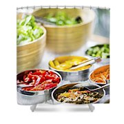 Salad Bowls With Mixed Fresh Vegetables Shower Curtain