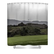 Saltire And The Ruins Of The Urquhart Castle Shower Curtain
