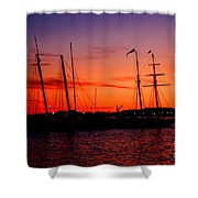 San Diego Harbor Sunset Shower Curtain