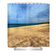 sandy beach in Piscinas Shower Curtain