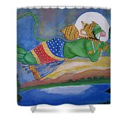 Sanjivani Hanuman Shower Curtain