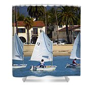 Santa Barbara Harbor Yacht Race Shower Curtain
