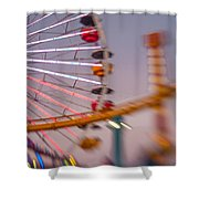 Santa Monica Pier Ferris Wheel And Roller Coaster At Dusk Shower Curtain