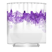 Sao Paulo Skyline In Watercolor On White Background Shower Curtain