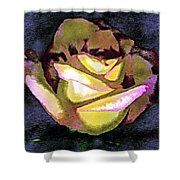 Scanned Rose Water Color Digital Photogram Shower Curtain