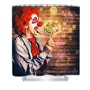 Scary Circus Clown At Horror Birthday Party Shower Curtain