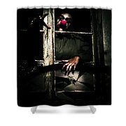 Scary Clown Clawing Window Shower Curtain