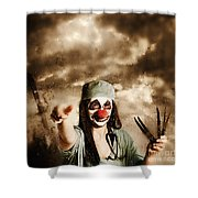 Scary Clown Doctor Throwing Knives Outdoors Shower Curtain
