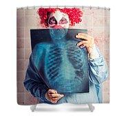 Scary Clown Peeking Behind X-ray. Funny Bones Shower Curtain