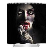 Scary Vampire Woman. Bloody Halloween Horror Shower Curtain
