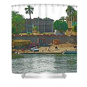 Scene Along Nile River Between Luxor And Qena-egypt  Shower Curtain