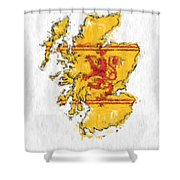 Scotland Painted Flag Map Shower Curtain