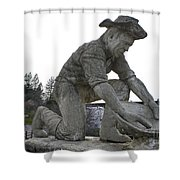 Scuplture Of Gold Rush Miner Claude Chana Shower Curtain
