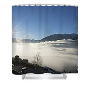 Sea Of Fog With Sunbeam Shower Curtain