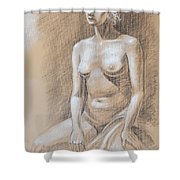 Seated Model Drawing  Shower Curtain