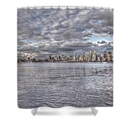 Seattle Cityscape In Clouds Shower Curtain