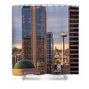 Seattle Space Needle Golden Sunset Light Shower Curtain