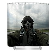 Self-portrait Of An Aerial Combat Shower Curtain