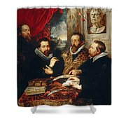 Selfportrait With Brother Philipp Justus Lipsius And Another Scholar Shower Curtain