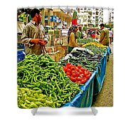 Selling Fresh Vegetables In Antalya Market-turkey Shower Curtain