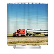 Semi Truck Moving On The Highway Shower Curtain