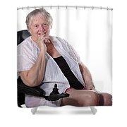 Senior Woman In Wheel Chair Shower Curtain
