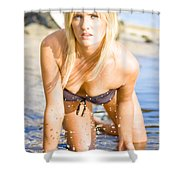 Sensuous Woman Playing With Water Shower Curtain