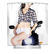 Sexy Biker Girl Shower Curtain
