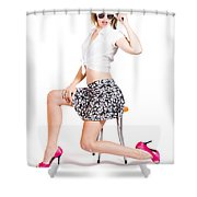 Sexy Brunette Pin Up Girl In Pink Retro Fashion Shower Curtain
