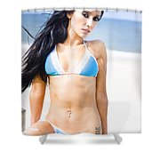 Sexy Tanned Beach Woman Shower Curtain