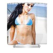 Sexy Tanned Beach Woman Shower Curtain