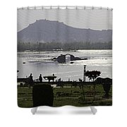 Shalimar Garden The Dal Lake And Mountains Shower Curtain