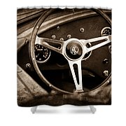 Shelby Ac Cobra Steering Wheel Emblem Shower Curtain