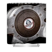 Shelby Cobra Steering Wheel Emblem Shower Curtain