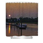 Sunset Life On Shem Creek  Shower Curtain
