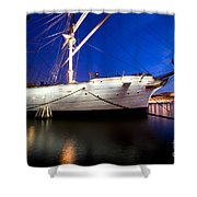 Ship At Night In Stockholm Shower Curtain