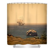 Ship Off The Coast Shower Curtain