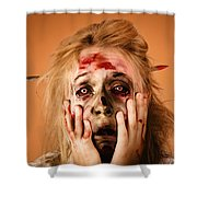 Shocked Horror Halloween Zombie With Hands Face Shower Curtain