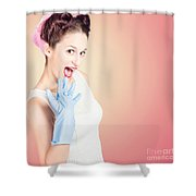 Shocked Pin-up Cleaner Girl With Funny Expression Shower Curtain
