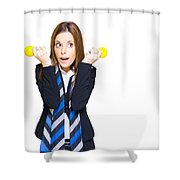 Shocked Woman With Ideas Of Business Innovation Shower Curtain