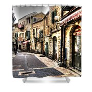 Quiet Shopping Street Before The Shops Open Shower Curtain