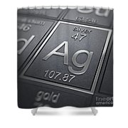 Silver Chemical Element Shower Curtain