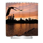 Silver Lake Sunset Shower Curtain